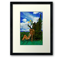 SEATED BY THE HOLLOW TREE ! Framed Print