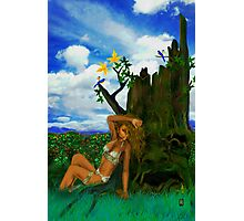 SEATED BY THE HOLLOW TREE ! Photographic Print