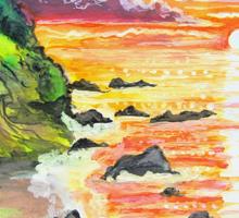 rocky beach sunrise Sticker