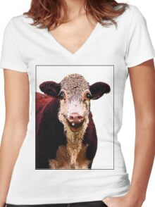 HAPPY LARRY Women's Fitted V-Neck T-Shirt