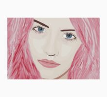 Pink Haired Woman with Big Blue Eyes Baby Tee