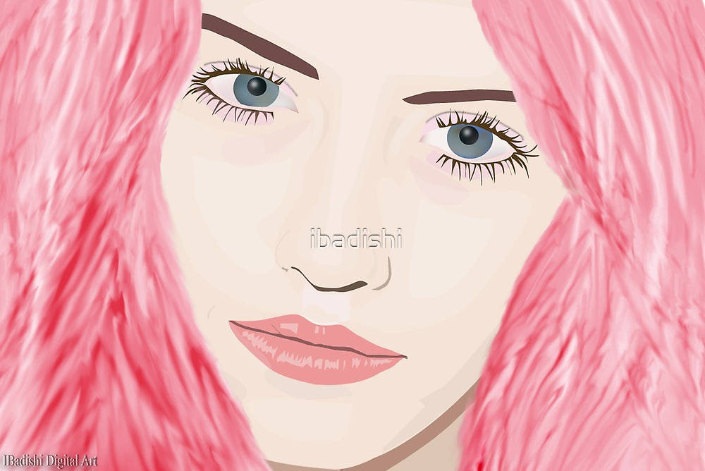 Pink Haired Woman with Big Blue Eyes by ibadishi