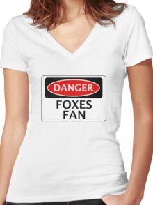 DANGER LEICESTER CITY, FOXES FAN, FOOTBALL FUNNY FAKE SAFETY SIGN Women's Fitted V-Neck T-Shirt
