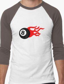 Eight Ball and Flames Men's Baseball ¾ T-Shirt