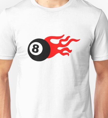 Eight Ball and Flames Unisex T-Shirt