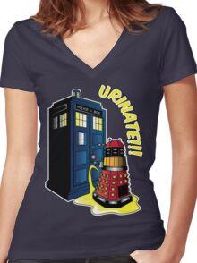 Disgraceful Dalek Women's Fitted V-Neck T-Shirt