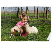 child play with two little goats Poster