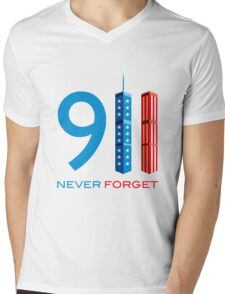 911 Never Forget - World Trade Centre with American Flag Mens V-Neck T-Shirt