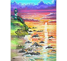 rocky beach sunrise Photographic Print