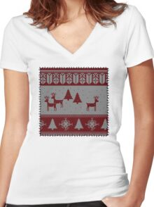Ugly Christmas stitched sweater Women's Fitted V-Neck T-Shirt
