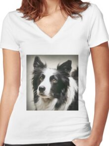 Working Border Collie Women's Fitted V-Neck T-Shirt