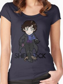 Sherlock Holmes, consulting detective and Otter with scarf. Women's Fitted Scoop T-Shirt
