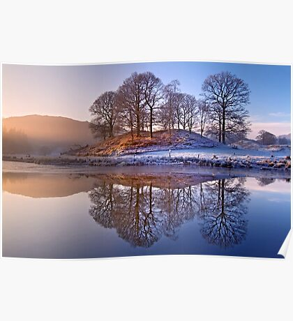 Clearing mist and reflections - River Brathay Poster