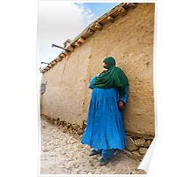 Afghan Woman against a wall Poster