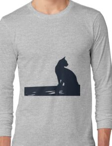 Black Cat  Sitting On the Fence Long Sleeve T-Shirt