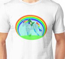 Dinosaur riding a robotic Unicorn Unisex T-Shirt