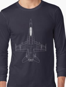 McDonnell Douglas F-18 Hornet Blueprint Long Sleeve T-Shirt