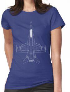 McDonnell Douglas F-18 Hornet Blueprint Womens Fitted T-Shirt