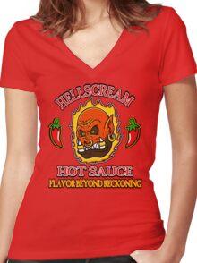 Hellscream Hot Sauce Women's Fitted V-Neck T-Shirt