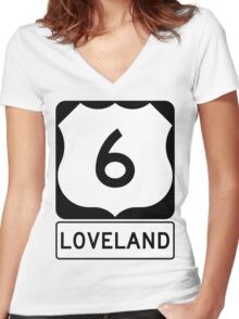 US 6 - Loveland Pass Colorado Women's Fitted V-Neck T-Shirt