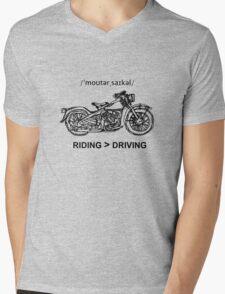 Motorcycle Cruiser Style Illustration Mens V-Neck T-Shirt