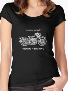 Motorcycle Cruiser Style Illustration White Ink Women's Fitted Scoop T-Shirt
