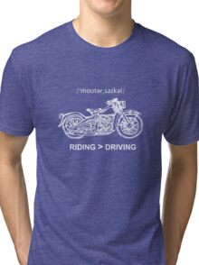 Motorcycle Cruiser Style Illustration White Ink Tri-blend T-Shirt