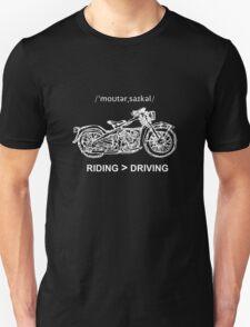 Motorcycle Cruiser Style Illustration White Ink Unisex T-Shirt