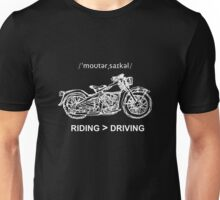 Motorcycle Cruiser Style Illustration White Ink Unisex T-Shirt