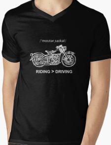Motorcycle Cruiser Style Illustration White Ink Mens V-Neck T-Shirt