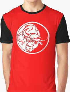 Bull Emblem In White Graphic T-Shirt