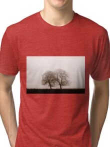 Winter tree silhouette in great fog, natur concept Tri-blend T-Shirt
