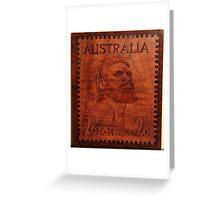 PYROGRAPHY: Australian Stamp 1950 Greeting Card