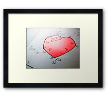 Connect the dot picture puzzle and coloring page, heart Framed Print