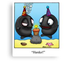 Funny Whale Birthday Cartoon Canvas Print