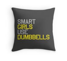 Smart Girls Use Dumbbells (yel/gry) Throw Pillow