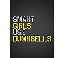 Smart Girls Use Dumbbells (yel/gry) Photographic Print