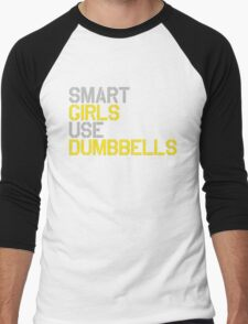 Smart Girls Use Dumbbells (yel/gry) Men's Baseball ¾ T-Shirt