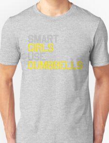 Smart Girls Use Dumbbells (yel/gry) Unisex T-Shirt