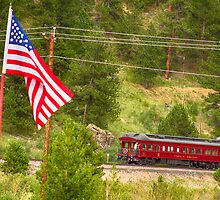 Cyrus K. Holliday Rail Car and USA Flag by Bo Insogna
