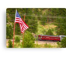 Cyrus K. Holliday Rail Car and USA Flag Canvas Print