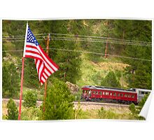 Cyrus K. Holliday Rail Car and USA Flag Poster