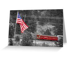 Cyrus K. Holliday Rail Car and USA Flag BWSC Greeting Card
