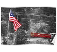 Cyrus K. Holliday Rail Car and USA Flag BWSC Poster