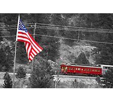 Cyrus K. Holliday Rail Car and USA Flag BWSC Photographic Print