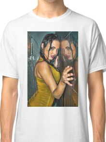 Reflection -Beautiful girl wet in shower wearing clothes  Classic T-Shirt