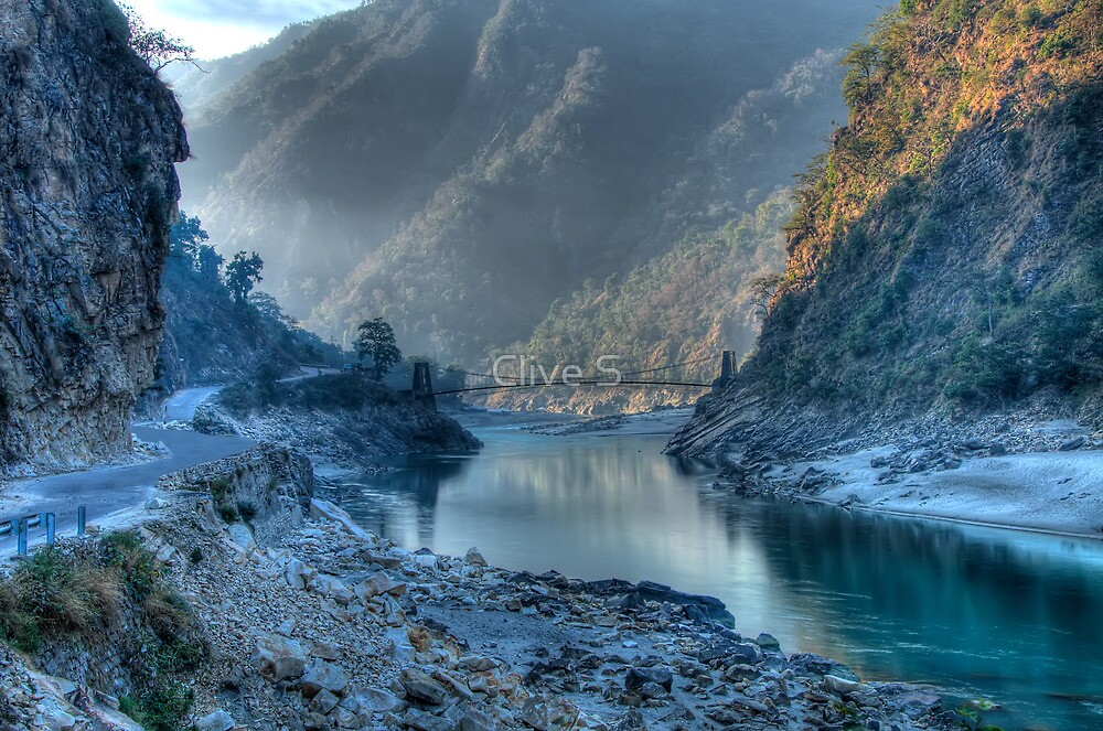 Devpryag At Misty Sunrise by Clive S