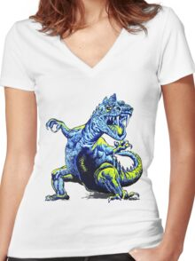 Old Blue Dinosaur Women's Fitted V-Neck T-Shirt