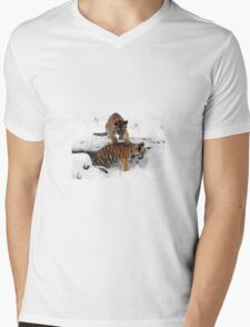 Tiger cubs in snow Mens V-Neck T-Shirt