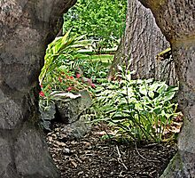 Looking Through the Stone Window to the Garden by Jane Neill-Hancock